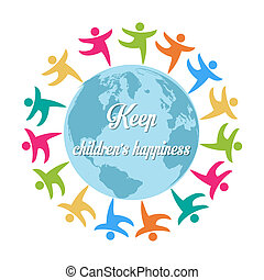 keep children's happiness, group of children all around the world