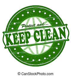 Keep clean - Stamp with text keep clean inside, vector...