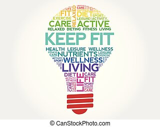 KEEP FIT bulb word cloud