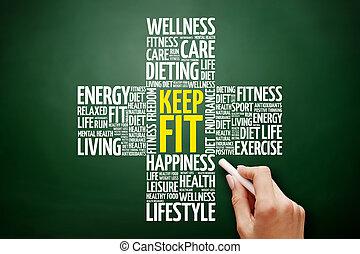 KEEP FIT cross word cloud collage, health concept on blackboard
