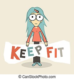 Keep Fit Girl Vector Illustration