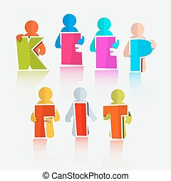 Keep Fit Vector Colorful Paper Slogan - Title