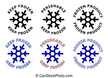 Keep frozen sign. Snowflake symbol with text around it. Black, white and blue color version.