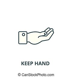 Keep hand vector line icon, linear concept, outline sign, symbol