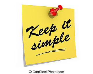 Keep It Simple White Background - A note pinned to a white...