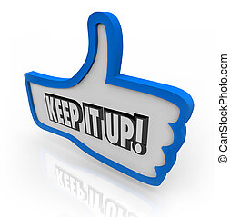 Keep It Up Blue Thumbs Up Word Encouragement Feedback - The...