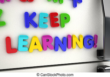 Keep learning fridge magnets - The words keep learning...
