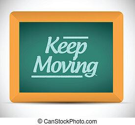 keep moving chalkboard illustration design