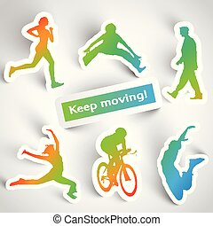 """""""Keep moving!"""" sports stickers"""