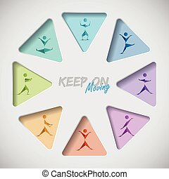 Keep on mooving fitness background with origami people