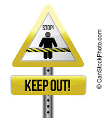 keep out road sign illustration design