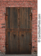 Keep Out Scary Door with Brick Background