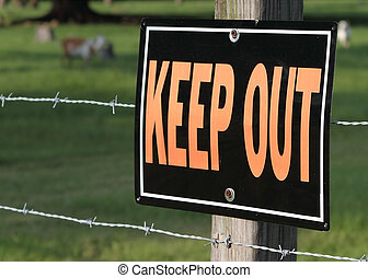 Keep Out Sign - Keep out sign on green background