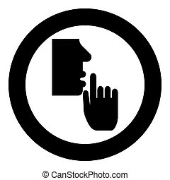 Keep silence concept Man shows index finger quietly Person closed his mouth Shut his lip Shh gesture Stop talk please theme Mute icon in circle round black color vector illustration flat style simple image