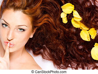 Keep the silense - Close-up beautiful red-haired lady with ...