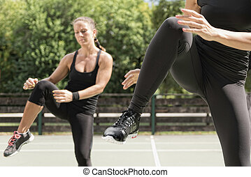 Keep ups, group of people exercising outdoors