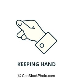 Keeping hand vector line icon, linear concept, outline sign, symbol