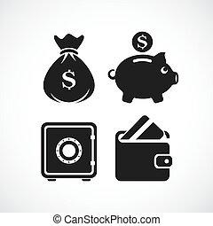 Keeping money vector icon