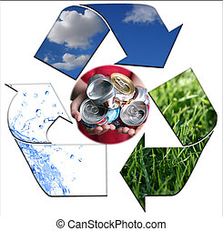 Abstract Recycling Symbol Representing Air, Land and Sea With Aluminim Cans