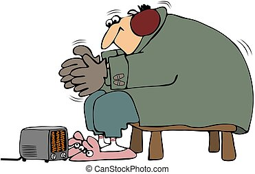 This illustration depicts a man bundled up and trying to keep warm with a small electric heater.