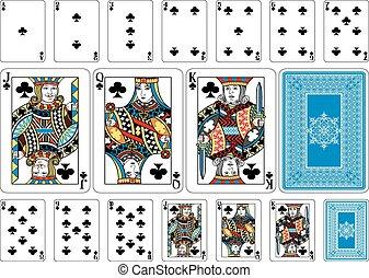 keerzijde, spelend, club, grootte, pook, kaarten, plus