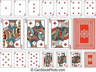 keerzijde, spelend, diamant, grootte, pook, kaarten, plus