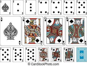 keerzijde, spelend, grootte, pook, kaarten, plus, spade