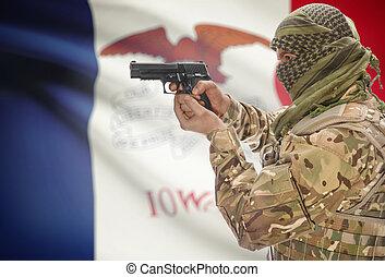 keffiyeh, iowa, musulmán, -, arma de fuego, mano, bandera, ...