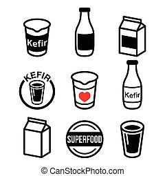 Kefir or kephir, fermented milk - Vector food icons - kefir...