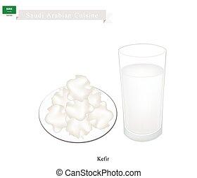 Kefir or Saudi Arabian Fermented Milk with Sour Flavor -...