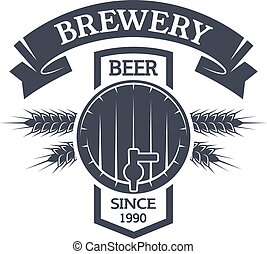 Keg beer. Brewing vintage emblem. - Keg beer Brewing vintage...