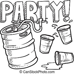 Keg party sketch - Doodle style beer keg, frat party, or ...