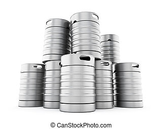 Keg stack - Metal keg stack isolated on white background