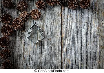 kegel, baum, kiefer, rustic, holz, hintergrund, weihnachten