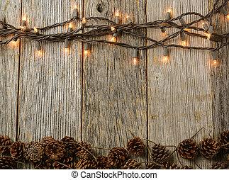kegel, kiefer, rustic, lichter, holz, hintergrund, weihnachten