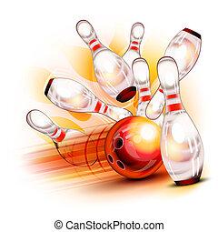 keglespil bold, forulykker, into, den, skinnende, knappenål