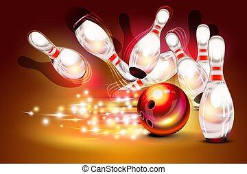 keglespil, boldspil, strejke, hen, mørk røde baggrund