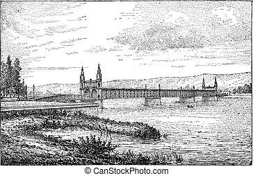 Kehl bridge, vintage engraving.