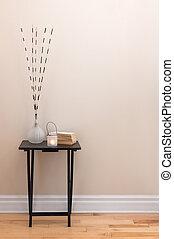 kehren ausstattung zurück, wenig, tisch, mit, dekorationen
