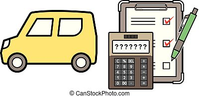 kei car and electronic calculator and checklist