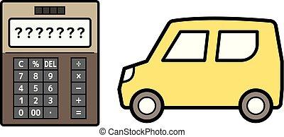 kei car and electronic calculator