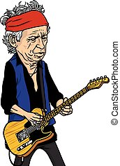 Keith Richards of The Rolling Stones Black and White Cartoon Caricature Portrait Vector