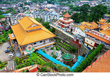 Kek Lok Si, Penang, Malaysia - Bird View of Buddhist Temple...