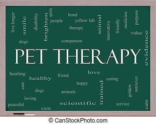kela terapi, ord, moln, begrepp, på, a, blackboard