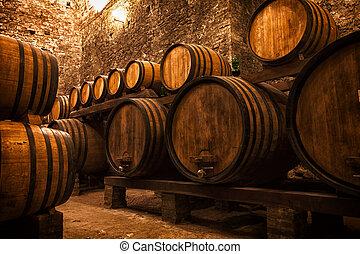 kelder, met, vaten, voor, opslag, van, wijntje, italië
