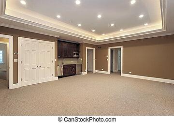 kelderverdieping, in, nieuw, bouwsector, thuis