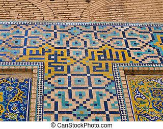 keleti, dísztárgyak, mecset, cserép, irán, isfahan, háttér