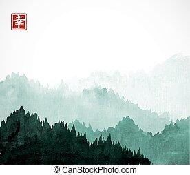 keleti, hagyományos, hegyek, -, bitófák, hieroglifa, happiness., sumi-e, festmény, u-sin, fog., zöld erdő, tinta, tartalmaz, go-hua