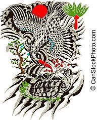 keleti, madár, és, fa, festmény