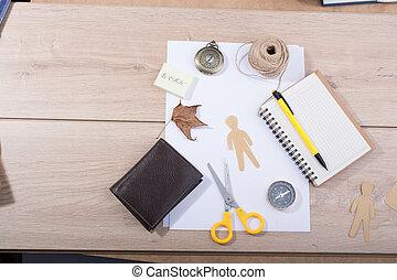 kellék, eszközök, munka, művészet, kéz, íróasztal